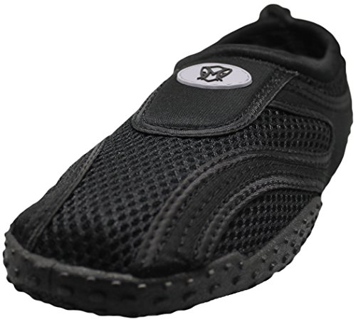 Men's Water Shoes Aqua Slippers Yoga Exercise Socks With Drawstring Closure (11, Black / Black)