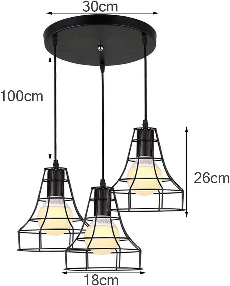 LED Deckenleuchte Schwarz Draht Drahtlampe Retro Vintage 3-Flammig,Pendelleuchte Modern Schwarz Matt Metall,Hängeleuchte, E27 Industrial Vintage Style Lampenschirm. E