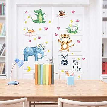 Weaeo Cartoon Tiere Wald Tiger Owl Elefant Fuchs Hund Wandaufklebern Diy  Aufkleber Kinder Zimmer Einrichtung Kindergarten