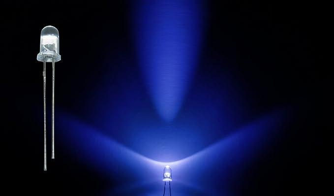 ProGoods 50x LED 5mm blau rund radial bedrahtete Leuchtdiode energieeffizienter als herkömmliche Lampen für Modellbau,Innenra