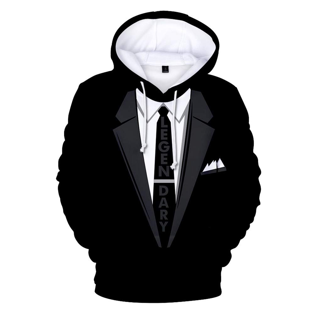 xinchengruishangmao Funny Christmas Sweater Men's 3D Fake Suits and Ties Printed Hooded Sweaters Fall Winter Hooded Pullovers
