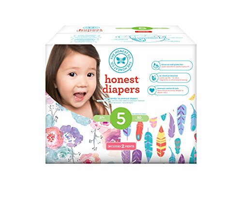 Honest Baby Diapers, Club Box, Rose Blossom & Painted Feathers, Size 5, 50 Count