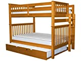 Bedz King Bunk Beds Full over Full Mission Style with End Ladder and a Full Trundle, Honey For Sale