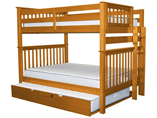 Bedz King Bunk Beds Full over Full Mission Style with End Ladder and a Full Trundle, Honey
