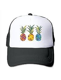 Three Pineapples Outdoor Mesh Hat Tennis Cap Hat Adjustable Black