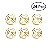 BESTONZON 24pcs Wedding Table Number Holder Ring Shape Clip Photo Holder Place Card Stands Holders (Golden)