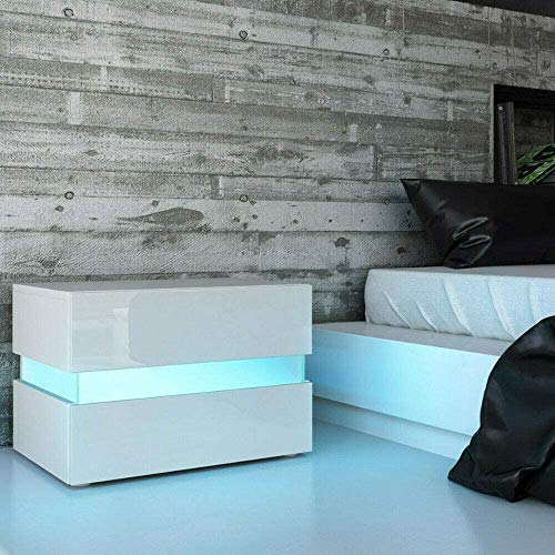 White Nightstand Beside Table, Modern 2 Drawers LED RGB Light High Gloss Cabinet Side Table End Table for Bedroom, Home…