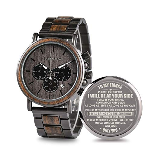 (Engraved Personalized Wooden Watch for Fiancé Customized Wooden Watches for Men Anniversary Birthday Gifts)