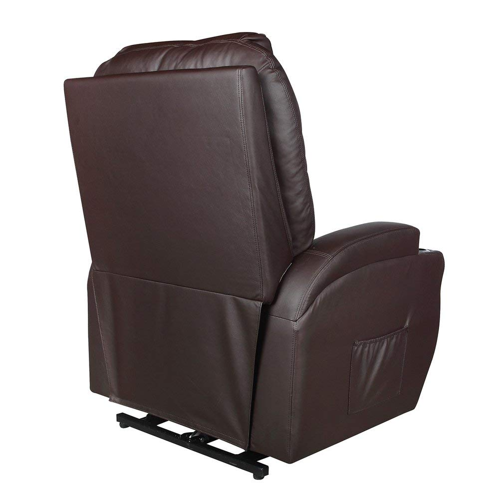 Massage Chair, Electric Leather Recliner Lift Sofa Home Lounge Chair with Comfortable Armchair, Remote Controller and Power Cord (Brown)