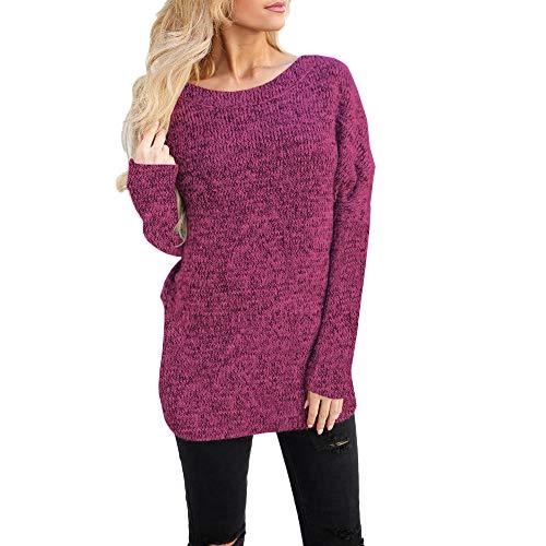 WaiiMak Big Women Solid Blouse Sweatshirt, Womens Long Sleeve Pullover Tops Shirt (L, Hot Pink)