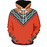 Realdo Unisex Dashiki Sweatshirt Clearance Sale, Mens 3D African Print Long Sleeve Couples Hoodies Top Blouse Shirts(X-Large,C)
