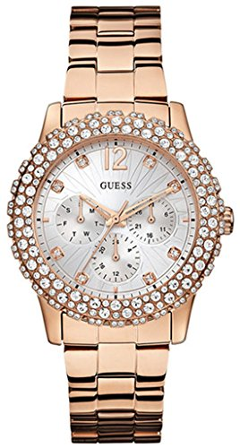 GUESS Women's W0335L3 Rose Gold-Tone Watch Genuine Crystal Accented -