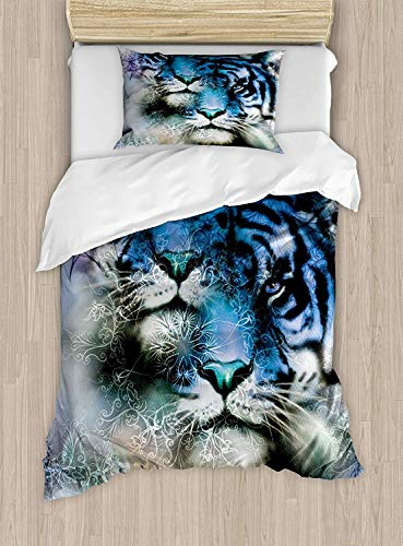 Dog Wild African Safari (VANKINE Full Bedding Sets for Boys, Animal Duvet Cover Set, Two Tiger Safari Cat African Wild Furious Life Big Animals Artwork Print, Include 1 Flat Sheet 1 Duvet Cover and 2 Pillow Cases)
