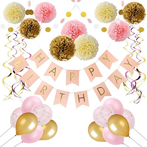 (Pink and Gold Birthday Party Decorations by Balloobox - Kit of 33pcs Birthday Decorations for Women with Pink Happy Birthday Banner, Pom Poms, Confetti Balloons, Glitter Polka Dot Garland, and)