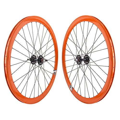 Origin8 Track Attack Wheels ORANGE Fixed Gear Deep V by WHEEL MASTER