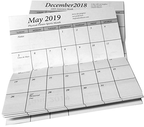 2018-19 Pocket Calendar Planners w/ Covers, Cards Stock & Note Pad (Plastic Calendar Refill)