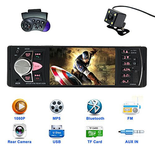 CARED 4.1 Inch Car stereo MP5 player/universal Single Din with bluetooth Car Headunit radio audio receiver /Rear View Camera/MP3/USB/SD/AUX in/DVR input/wireless (Series Single Rear Wheels)