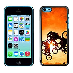 FECELL CITY // Duro Aluminio Pegatina PC Caso decorativo Funda Carcasa de Protección para Apple Iphone 5C // Yellow Box Extreme Sports Bicycle Stunt