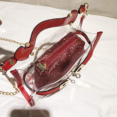Bolsa Hombro cosmético Prueba la Las de Color de Agua Mensajero Jalea natación con de a Bolso Gold Transparente Mujeres PVC pequeño Xiaoqin Playa Red de Bolsa Muchacha Tgvqzwtt