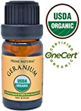 Organic Rose Geranium Oil 10ml - USDA Organic Certified - 100% Natural Pure Undiluted Therapeutic Grade for Aromatherapy Scents Diffuser Natural Deodorant Skincare Anti Aging Calming Anxiety Relief