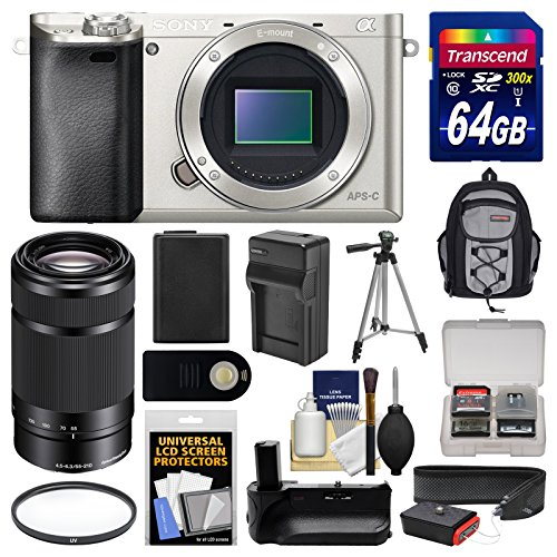 Sony Alpha A6000 Wi-Fi Digital Camera Body (Silver) with 55-210mm Lens + 64GB Card + Backpack + Battery & Charger + Grip + Tripod + Filter Kit