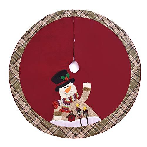 Godagoda Burlap Tree Skirt Snowman Christmas Tree Skirt Lattice Edge 105cm-1