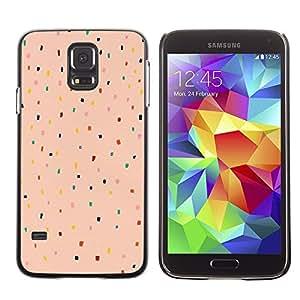 TopCaseStore / la caja del caucho duro de la cubierta de protección de la piel - Peach Pink Color Dot Pattern Teal Red - Samsung Galaxy S5 SM-G900
