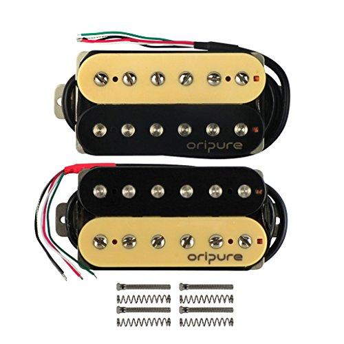 OriPure Alnico 5 Guitar Double Coil Humbuckers Set Neck/Bridge(50mm/52mm) Pickup for Electric Guitar Part,Zebra - Pickup Zebra Coil