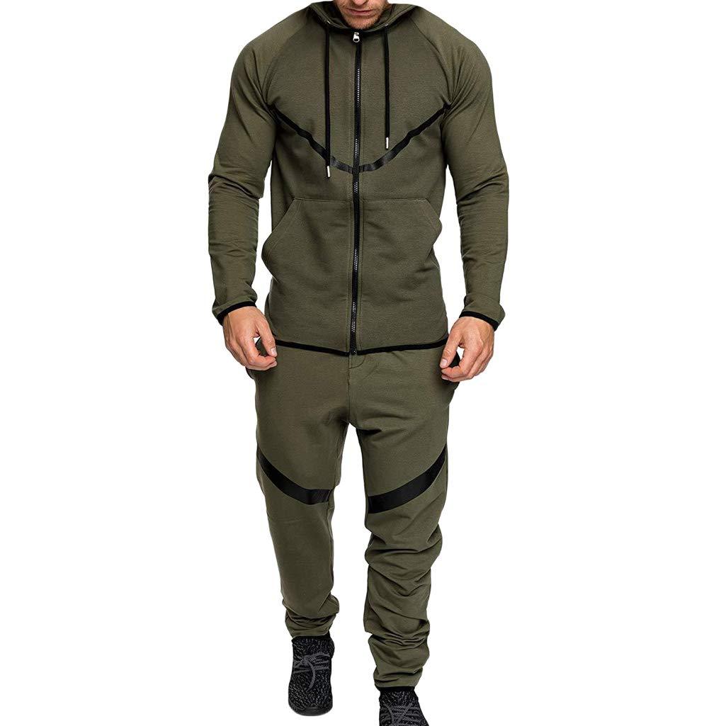 Men's Tracksuit Set Camouflage Sweatshirt Jogger Sweatpants Solid Patchwork Warm Sports Suit (H-Green, XL) by lisenraIn