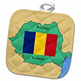 3dRose 777images Flags and Maps - The map and flag of Romania with Romania printed in both English and Romanian. - 8x8 Potholder (phl_39222_1)