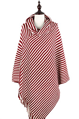 StylesILove Women Striped Turtleneck Cape Poncho Fringed Trim Knitted Shawl (Striped Neck Wrap)