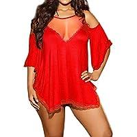 Tootu Plus Size Women Sexy Underwear Babydoll Sleepwear Lingerie G-String Set