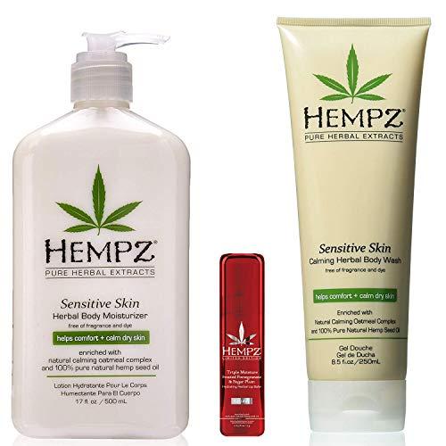 Hempz Body Gift Set - Hempz Sensitive Skin Herbal Body Moisturizer lotion, Wash & Limited Edition Lip Balm Trio Set