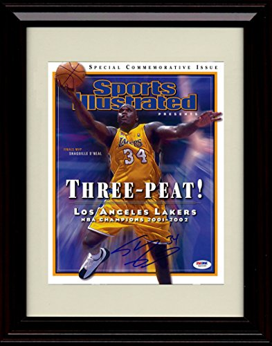 Framed Shaquille O'Neal Lakers Champions Sports Illustrated Autograph Replica Print - 2001-02 Champs! (Shaquille Frame Oneal)