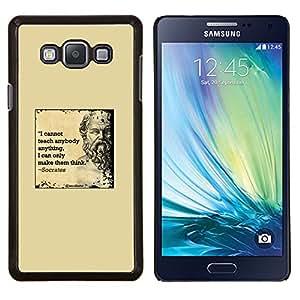 Sócrates Amarillo Cita Mármol Profundo Elegante- Metal de aluminio y de plástico duro Caja del teléfono - Negro - Samsung Galaxy A7 / SM-A700