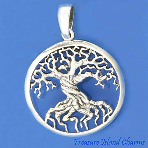 (Large Tree of Life Round Detailed 925 Solid Sterling Silver Pendant 1-9/16