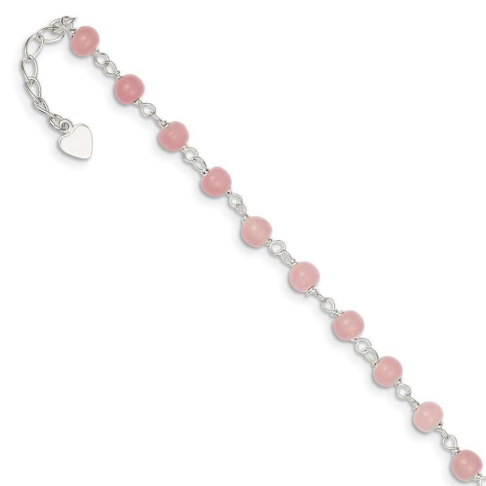 Mia Diamonds 925 Sterling Silver Solid Pink Glass Bead with Heart Anklet Bracelet -9'' (9in x 6mm)