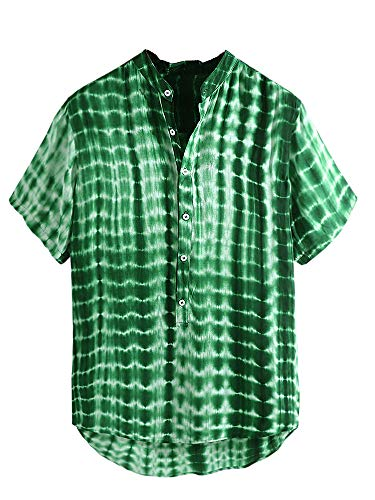 Beotyshow Mens Cotton Linen Twill Plaid Checks Shirt Six Button Down Dry Regular Fit Short Sleeve Serpentine Moire Henley Shirts Round Hem Shirts for Men Green