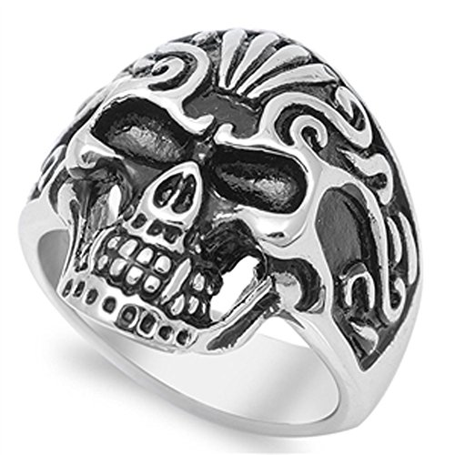 Anarchy Biker Skull Evil Chopper Ring New 316L Stainless Steel Band Size 8 ()