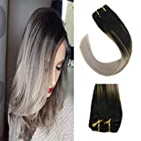 Sunny Ombre Clip in Hair Extensions 14 Inch Remy Human Hair Off Black Ombre to Grey Clip in Extensions Balayage Ombre Brazilian Hair Full Head Set 7 pcs 120 gram