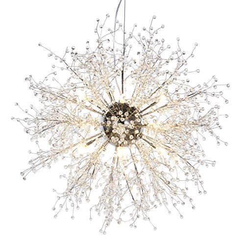 Round Twelve Light Chandelier - GDNS Chandeliers Firework LED Light Stainless Steel Crystal Pendant Lighting Ceiling Light Fixtures Chandeliers Lighting,Dia 27 inch