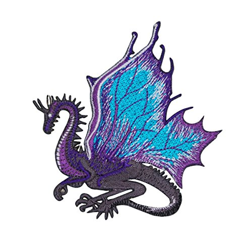 Purple Dragon Patch Legendary Fantasy Serpent Wings Embroidered Iron On Applique (Embroidered Dragon Patches)