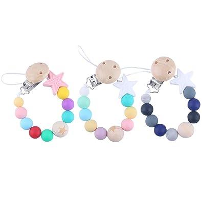 HEALLILY Chupete de bebé Clips de Silicona dentición Beads ...