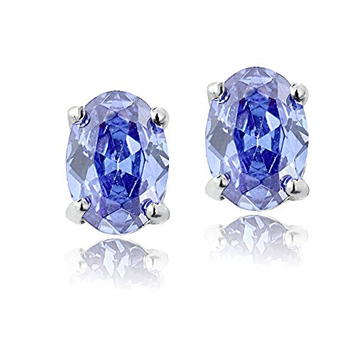 Sterling Silver Tanzanite 6x4mm Oval Stud Earrings