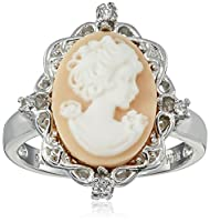 Sterling Silver Pink Cameo Ring with Created White Sapphire, Size 7