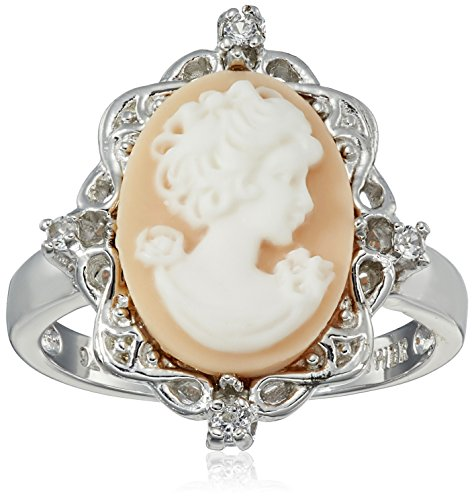 Sterling Silver Pink Cameo Oval with Created White Sapphire