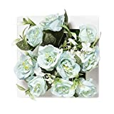 ADFBHY Hanging Wall 3D Plastic Flowerpots Decor Artificial Rose Flowers Potted Metope Photo Frame Wall Hanging Home Living Room Decor Blue