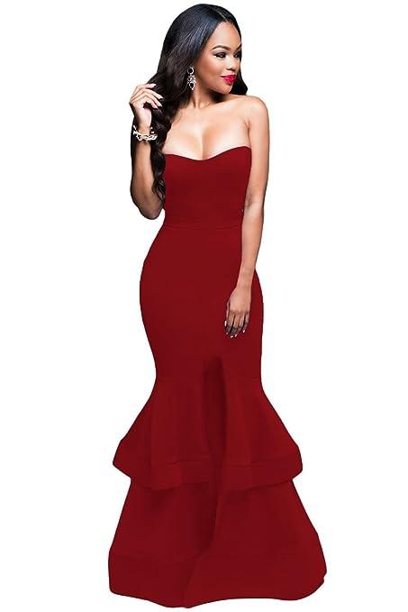 Elegante vestido de noche, largo, de color vino y con escote palabra de honor