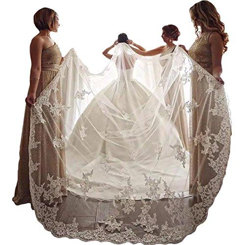kelaixiang Elegant 1 Layer Lace Sequins Beaded Edge Bridal Wedding Veil with Comb (4 meters, - Beaded Veil Bridal