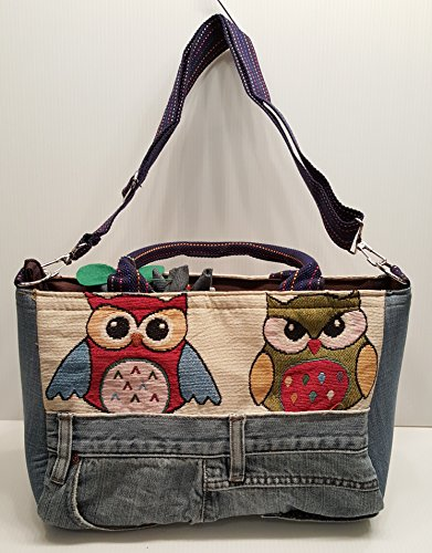 Infinity Denim Jean Owl Tapestry Patchwork Top Handle Fabric Handbag Crossbody Shoulder bag Adjustable Strap -Large Size Hippie Bohemian and Vintage Bag (Model ()
